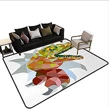 Hall Carpet Reptile,Colorful Mosaic Wild Trex Illustration Opens Mouth Jurassic Pixel Dinosaur Decor,Multicolor