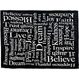 Inspiring Messages (Black) Super Plush Blanket - 50x60 Soft Throw Blanket - Perfect for Cuddle Season & Holiday Gifts!