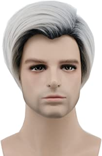 mens black and white wig