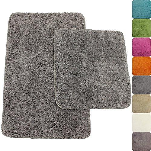 PROHEIM Badematte 2-teiliges Set 50 x 80 und 45 x 50 cm Rutschfester Badvorleger Premium Badteppich 1200 g/m² weich & kuschelig Hochflor Duschvorleger, Farbe:Grau