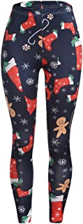 Womens Soft Leggings Santa Claus Printed Elastic Slim Leggings Pants
