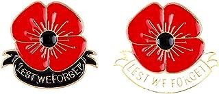 Broche de amapola, 2 paquetes de insignias de flores rojas conmemoran regalos de solapa