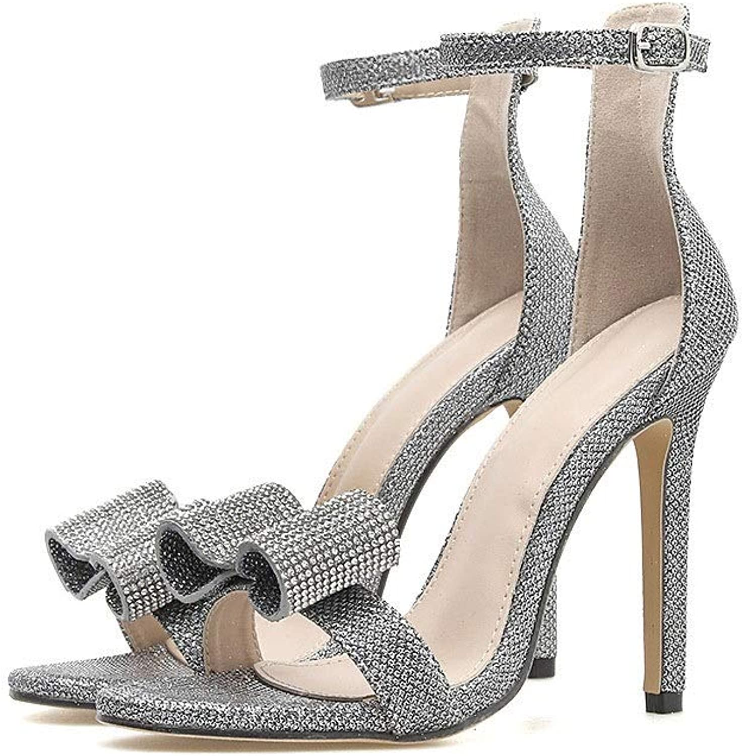 Rhinestone Big Bow High Heel Word with Sandals (color   Silver, Size   7 US)