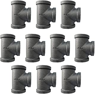 IBEUTES 10-Pack Black Malleable Iron Cast Black Pipe Fittings 3/4 Inch Pipe Tee, DIY Pipe Furniture, 3/4 Inch Threaded Pipe Nipples Industrial Piping