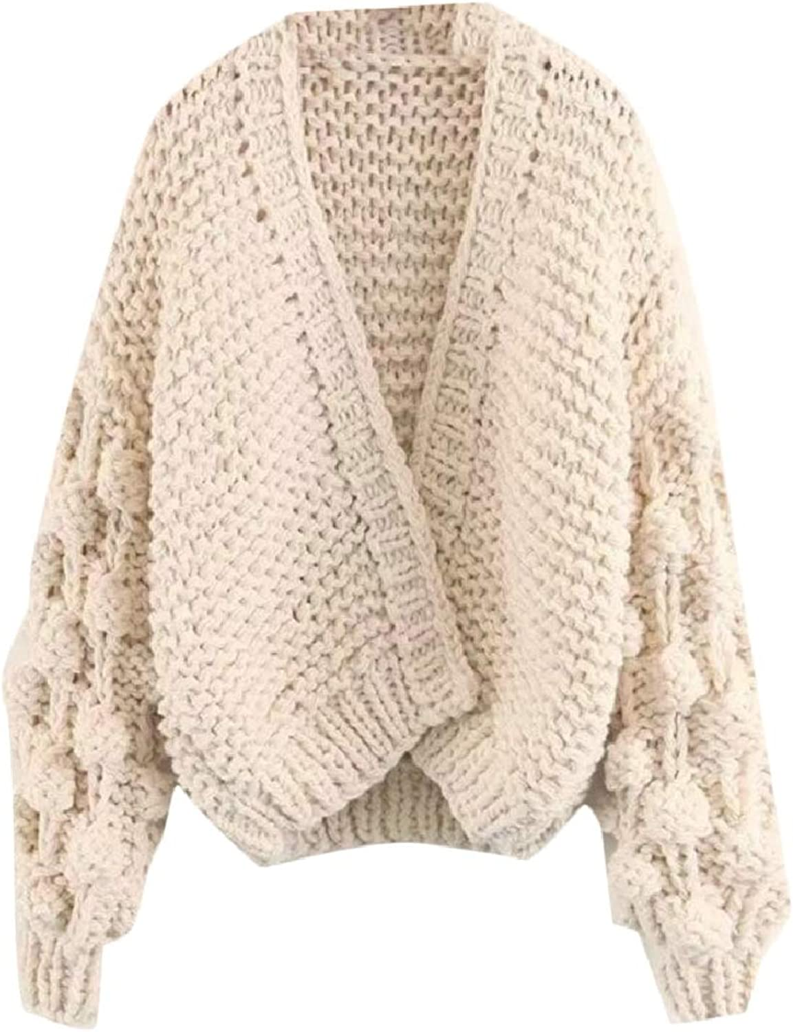CBTLVSN Womens Cable Knit Chunky Cardigan Sweater Solid Lantern Sleeve Outwear