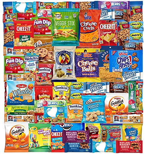Snack Box Variety Pack (53 Count) Cookies Chips Candy Care Package for Office Meetings Schools College Students, Military, Father ,Dad, Happy Father's Day