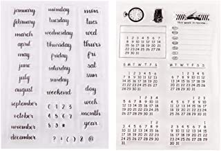 Exceart 2 Pcs Words Mixed Calendar Planner Week Month Day Clear Transparent Rubber Stamps Seal Block Stamp Sheets For Diy ...