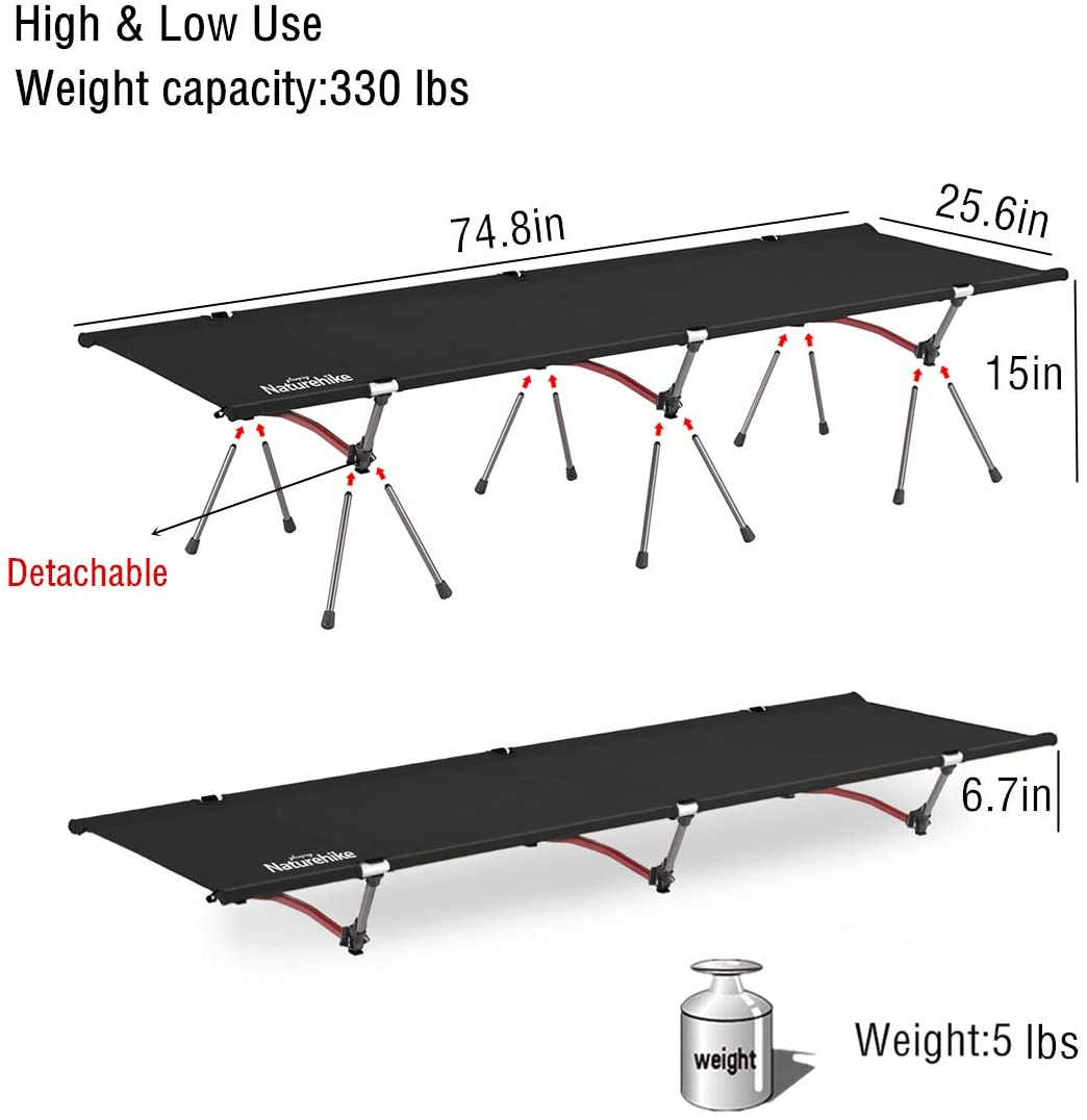 Portable Camping Cot Bed for Adults Lightweight Camping Hiking Heavy Duty Support 330 Lbs Naturehike Folding Camping Cot Compact for Outdoor /& Indoor use