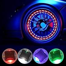 ATREPIN Car Tire Wheel Valve Cap Lights, 4pcs Car Hub Lamp Cap Light with Motion Sensors Colorful LED Tire Light Gas Nozzl...