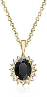 Mestige Women's Black Windsor Necklace in Gold with Swarovski Crystals - MSNE3406