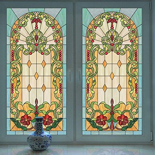 LJIEI Fensterfolie Kirchenglas-Farbfilm Gemalte Garderobenbalkondeckenglasfenster-Umweltschutzaufkleber