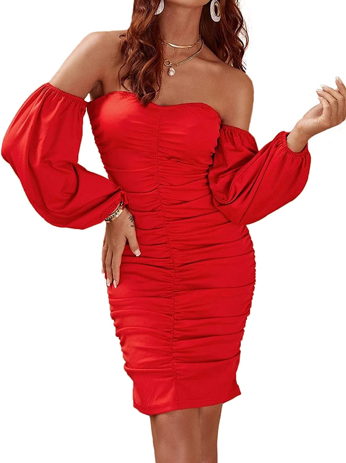 WAYMODE Women's Off Shoulder Long Sleeve Ruched Sexy Bodycon Cocktail Party Dress
