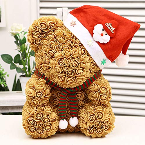housesweet Romantic Rose Teddy Bear Cub Forever Rose with Detachable Scarf Christmas Hat for Anniversary Christmas Valentines 25 cm