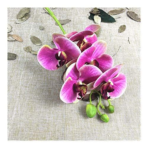 JiaQinHe Restos 5 Cabezas de Las Flores de Las orquídeas Rama Artificial for Home Living Room decoración de Boda con la orquídea Blanca Flores Artificiales Nunca (Color : C)