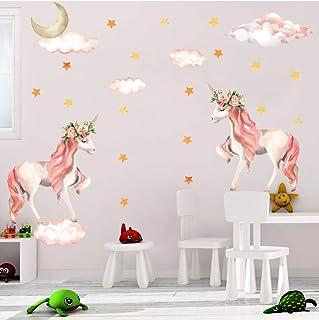 Sayala 2Pack Unicornio Pegatinas de Corazón Tatuajes de Pared Pelar y Pegar Decoración de Pared Linda Etiqueta Engomada del Arte para Niñas Mujeres Niños Dormitorio Guardería Infantil