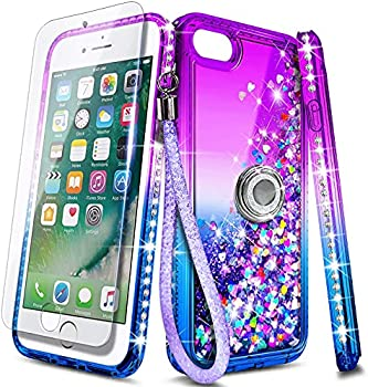 NGB Compatible for iPhone 8 Plus Case iPhone 7 Plus /6 Plus /6S Plus with Tempered Glass Screen Protector Ring Holder Girls Women Kids Liquid Bling Sparkle Glitter Quicksand Cute Case  Purple/Blue