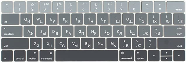 Batianda Russian Keyboard Cover Skin for MacBook Pro 13 15 inch 2019 2018 2017 & 2016 Premium Ombre Color Waterproof Silicone Keyboard Protector Model:A1989 / A1990 with Touch Bar (Grey Gradient)