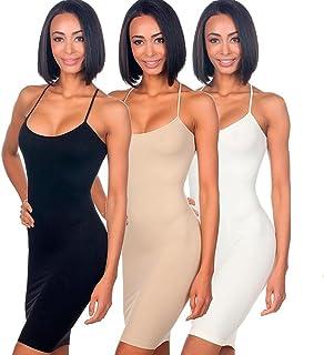 3pc Seamless Cami Tunic Dress Slip Camisole Dress Layering Tank Top Spandex Sexy
