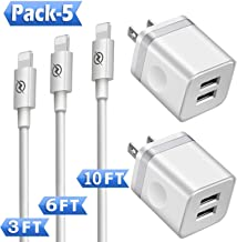 Phone Charger (Pack of 5), DENWAN 3ft+6ft+10ft Long Charging Cable and Dual USB Wall Plug Charger Block Cube Compatible with Phone Xs/XR/X 8/7/6/Plus SE/5S/5C, Pad Air Mini Pro (UL Certified)