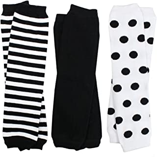 juDanzy 3 Pair Baby Boy and Girl Leg Warmers Black, White Neutral Colors