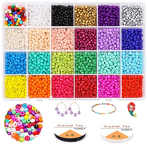 6000PCS 4MM Pony Glass Seed Beads, Gacuyi 24Colors Small Rainbow Glass Beads Bulk with Elastic String Organizer Box for Adult DIY Jewelry Making Bracelets Necklaces