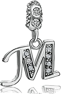 JMQJewelry Initials A-Z Alphabet Letter Beads Dangle Crystal Charms for Bracelets