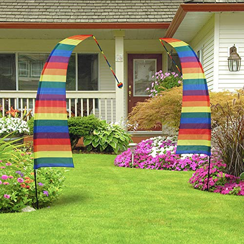 QSUM Rainbow Feather Flag & Pole Kit, Garden Banner or Yard Decorations, 8'Large Festival Flag Party Beach Sign Tent Marker Outdoor Decoration (1 PCS Flag & Pole)