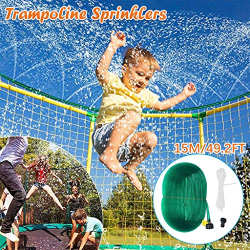 YOYO.RI Trampoline Waterpark Heavy Duty Sprinkler Hose- Fun Summer Outdoor Water Game Toys Accessories - Best for Boys & Girls and Adults -49.2FT Sprinkler for Kids Outside (Green)