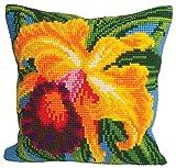 Collection D 'Art 40x 40cm Paradise Orchidee Kissen Kreuzstich