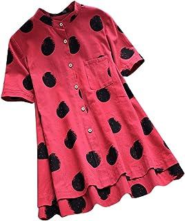 Luckycat Camisetas Mujer Tallas Grandes Camisa A Rayas De Gran TamañO con Camisa De AlgodóN Y Lino De Manga Larga Y BotóN A Rayas para Mujer Camisetas Mujer Manga Corta Basicas Nuevo 2019