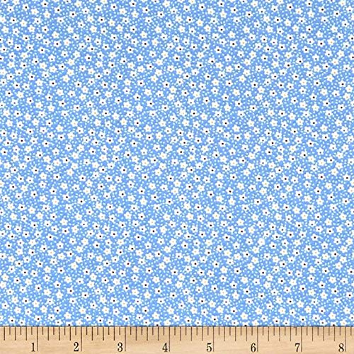 Vintage Miniatures Flowers Blue/White, Fabric by the Yard
