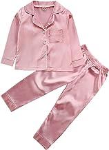 Button-Down 2-Piece Sleepwear PJs for Kids 1-6Years Toddler Baby Satin Silk Pajamas Set