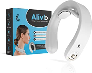 Alivio Neck Cervical Massager,Intelligent Portable Neck Massager by Logybird with Heat Cordless,3 Modes 15 Levels Smart Deep Tissue Trigger Point Massage Use at Home,Office,Outdoor,Car
