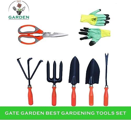 Kraft Seeds Gate Garden! Top 5 Spectacular Gardening Tools Set with Heavy Gardening Scissor and One Pair Hand Gloves ...