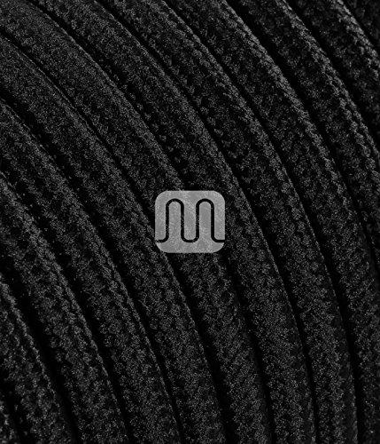 Elektrische Kabel in farbigem Stoff beschichtet. Made in Italy! 3 Meter 2x0, 75 Farbe: Schwarz