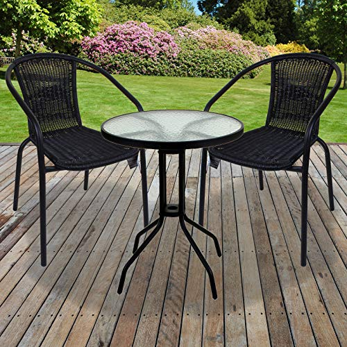 Marko Outdoor Black Wicker Bistro Sets Outdoor Garden Furniture Table Rattan Chairs Seat Patio (3 Piece Set)