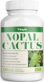 Vitapia Nopal Cactus 1000mg(20000mg) 20:1 Extract Supplement- 120 Veggie Capsules - Vegan and Non-GMO - Supports Body Pain...