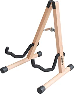 MIMIDI Wood Guitar Stand,MIMIDI Solid Wood Folding A-Frame Guitar Stand for Acoustic, Bass and Electric Guitars (primary color)
