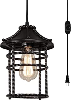Creatgeek Vintage Pendant Light with 16' Plug in Cord and On/Off Dimmer Switch, Industrial Oil Rubbed Hanging Light Fixture Swag Ceiling Chandelier Lamp for Bedroom,Kitchen,Porch