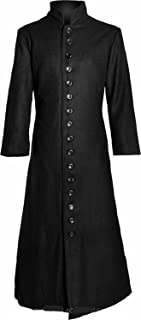 Gothic_Master Black Gothic Matrix Neo Coat with Long Button Row and Officer Collar