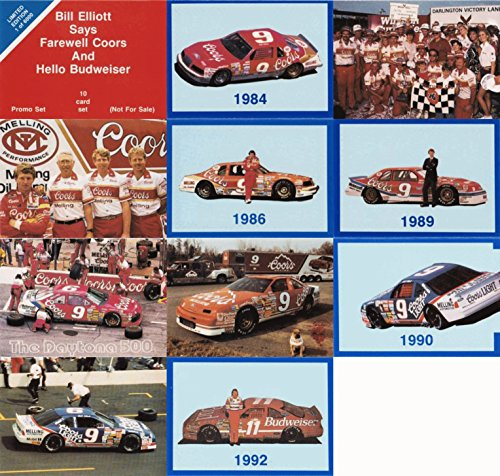 1992 Bill Elliott Says Farewell Coors And Hello Budweiser Nascar Racing 11 Card Promo Set