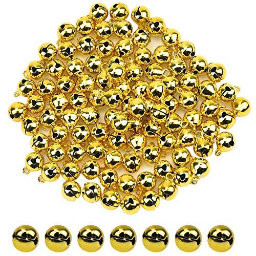 100 Pezzi Campanellini, Piccole Campanelle Natalizi in Metallo per Fai da Te, 10 mm Piccoli Campanelli Artigianali per Cani e Gatti, Campanelli da Slitta di Rame per la Decorazione (Oro)