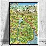 JFGJF Stardew Valley Mapa Impresiones en Lienzo póster e Impresiones Arte de la Pared Cuadros de Pintura Moderna para la decoración del hogar de la Sala de estar-24X36 Pulgadas sin Marco