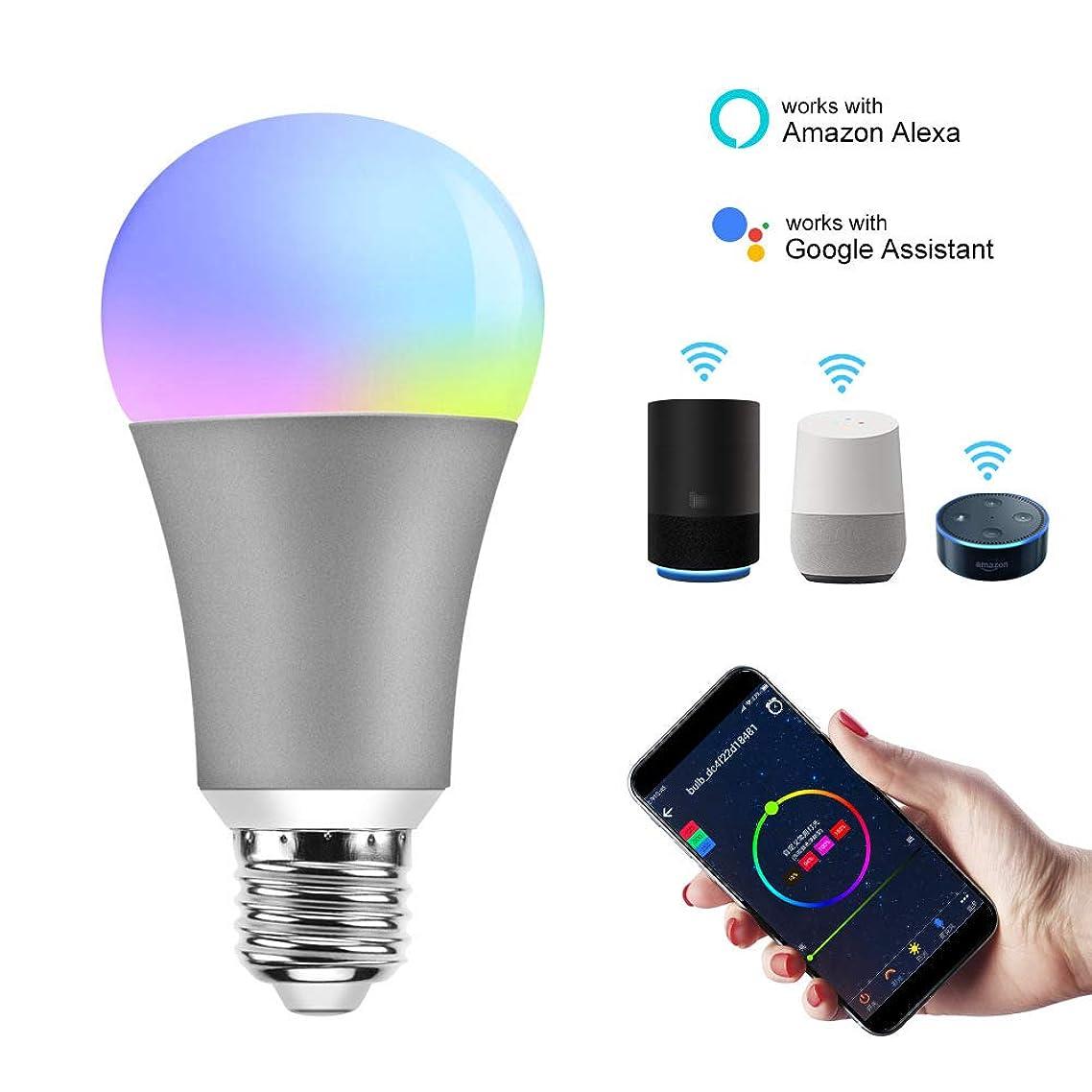 WiFi Smart Bulb,LED Smart Light Bulb E27 Base LED Multicolor Light,Compatible with Amazon Alexa Google Home, Dimmable RGB Smart Light Bulb