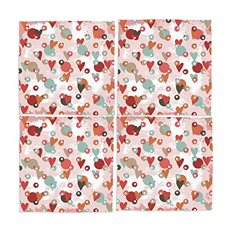 Ye Store Design Custom 4 Pieces Spots With Hearts Cloth Napkins 12x12x4(in)