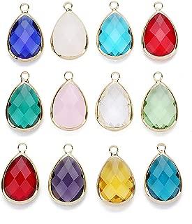 Linsoir Beads 6 pcs Small Teardrop Gemstone Pendant Moonstone Citrine Quartz Rose Quartz Amethyst Bezel Pendant for Necklace Making 13.5X22mm