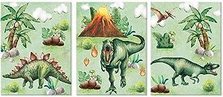 "Colorful Dinosaur Art Print, Primeval Forest WildlifeCanvas Posters Set of 3(12""X16"", framed), Volcano Eruption Wild Anim..."