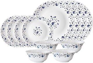 Larah by Borosil Helena Opalware Dinner Set, 12 Pieces, White