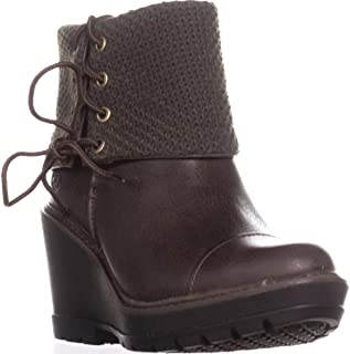 Womens Kellis Leather Fold-Over Wedge Boots