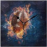 Thusjh Pendules murales,Ballon De Rugby avec Horloge Décorative Carrée Flamme pour Salon Chambre Cuisine Décor À La Maison Art À Piles Art